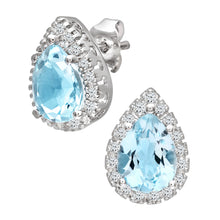 Load image into Gallery viewer, 9ct White Gold Teardrop Shaped Blue Topaz and Diamond Earrings