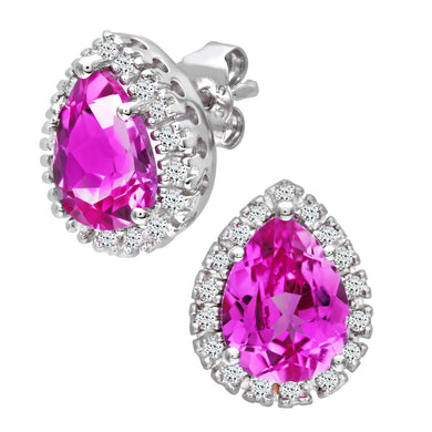 9ct White Gold Teardrop Shaped Pink Sapphire and Diamond Earrings