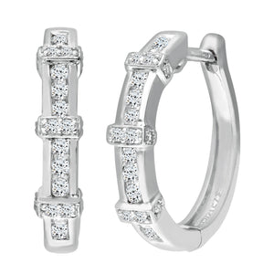 9ct White Gold Ladies Diamond Earrings