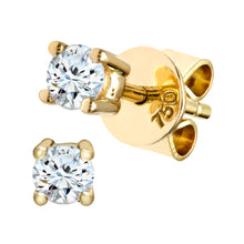 Load image into Gallery viewer, 18ct Yellow Gold 1/4 Carat Diamond Solitaire Stud Earrings