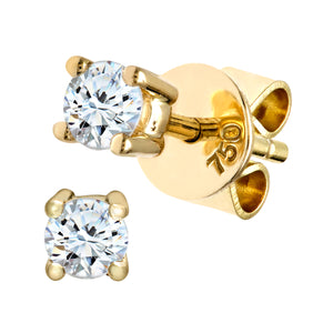 18ct Yellow Gold 1/4 Carat Diamond Solitaire Stud Earrings