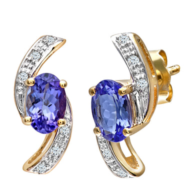 9ct Yellow Gold Tanzanite and Diamond Crossover Earring
