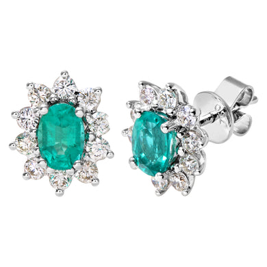 18ct White Gold Diamond and Emerald Earrings, 0.50ct Diamond Weight