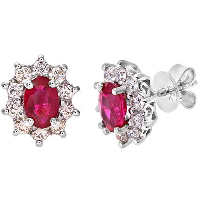 18ct White Gold Diamond and Ruby Earrings, 0.50ct Diamond Weight