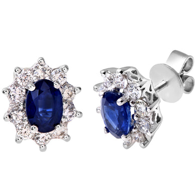 18ct White Gold Diamond and Sapphire Earrings, 0.50ct Diamond Weight