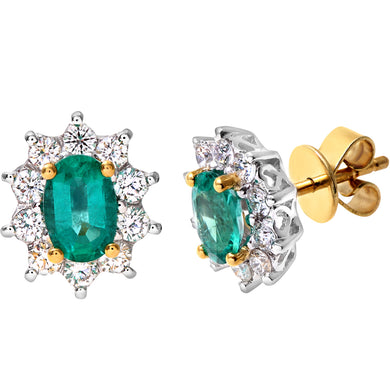 18ct Yellow Gold Diamond and Emerald Earrings, 0.50ct Diamond Weight