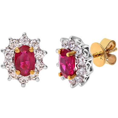 18ct Yellow Gold Diamond and Ruby Earrings, 0.50ct Diamond Weight