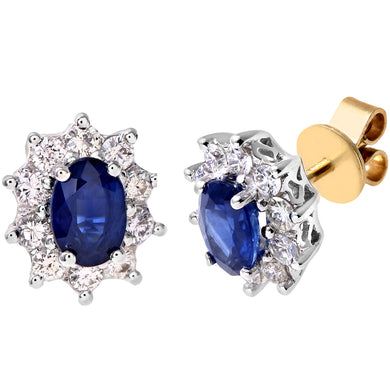 18ct Yellow Gold Diamond and Sapphire Earrings, 0.50ct Diamond Weight