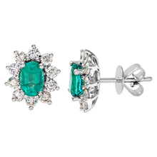 Load image into Gallery viewer, 18ct White Gold Diamond and Emerald Earrings, 0.66ct Diamond Weight