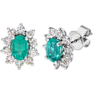18ct White Gold Diamond and Emerald Earrings, 0.66ct Diamond Weight