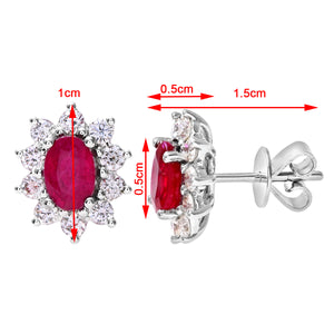 18ct White Gold Diamond and Ruby Earrings, 0.66ct Diamond Weight