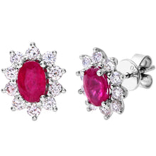 Load image into Gallery viewer, 18ct White Gold Diamond and Ruby Earrings, 0.66ct Diamond Weight