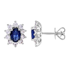 Load image into Gallery viewer, 18ct White Gold Diamond and Sapphire Earrings, 0.66ct Diamond Weight