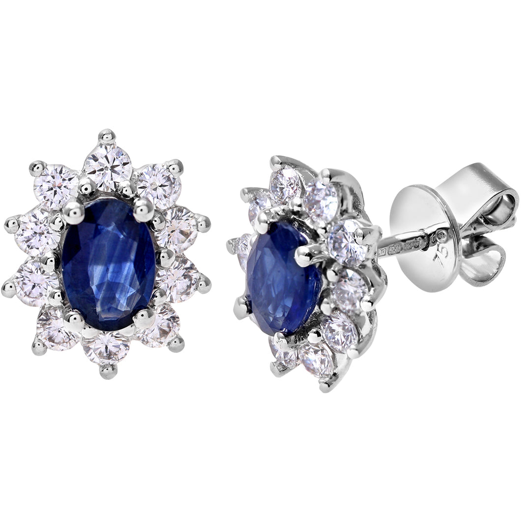 18ct White Gold Diamond and Sapphire Earrings, 0.66ct Diamond Weight