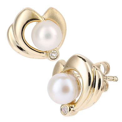 9ct Yellow Gold, 0.02ct Diamonds with White Cultured pearl Earrings