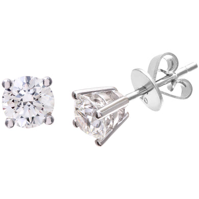 Diamond Stud Earrings, 18ct White Gold H/SI Round Brilliant Certified Diamond Earrings, 1.00ct Diamond Weight