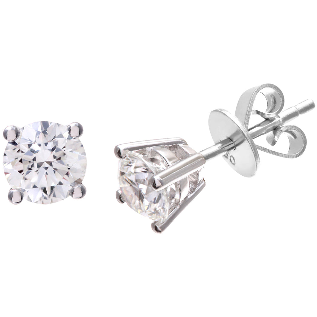Diamond Stud Earrings, 18ct White Gold IJ/I Round Brilliant Certified Diamond Earrings, 1.00ct Diamond Weight