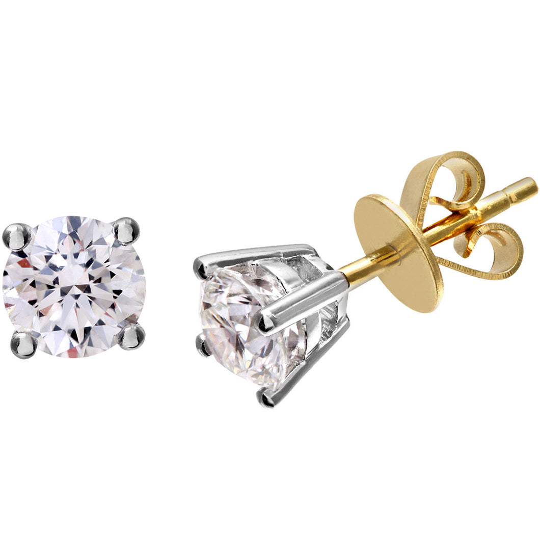 Diamond Stud Earrings, 18ct Yellow Gold H/SI Round Brilliant Certified Diamond Earrings, 1.00ct Diamond Weight