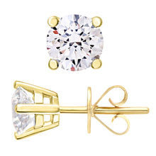 Load image into Gallery viewer, Diamond Stud Earrings, 18ct Yellow Gold IJ/I Round Brilliant Certified Diamond Earrings, 1.00ct Diamond Weight