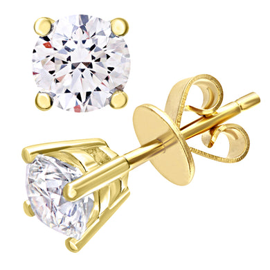 Diamond Stud Earrings, 18ct Yellow Gold IJ/I Round Brilliant Certified Diamond Earrings, 1.00ct Diamond Weight