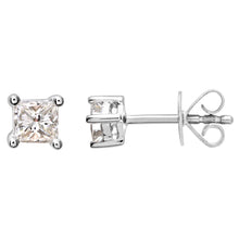 Load image into Gallery viewer, 18ct White Gold 1/4 Carat J/I Certified Princess Cut Diamond Stud Earrings