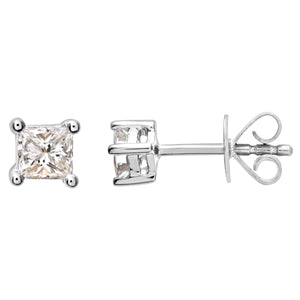 18ct White Gold 1/4 Carat J/I Certified Princess Cut Diamond Stud Earrings