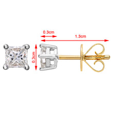 Load image into Gallery viewer, 18ct Yellow Gold 1/3 Carat J/SI Certified Princess Cut Diamond Stud Earrings