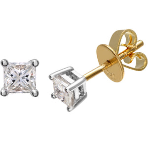 18ct Yellow Gold 1/3 Carat J/SI Certified Princess Cut Diamond Stud Earrings