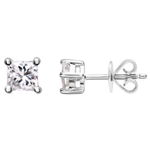 Load image into Gallery viewer, 18ct White Gold 1/2 Carat J/I Certified Princess Cut Diamond Stud Earrings
