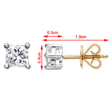 Load image into Gallery viewer, 18ct Yellow Gold 1/2 Carat J/I Certified Princess Cut Diamond Stud Earrings