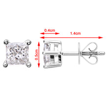 Load image into Gallery viewer, 18ct White Gold 3/4 Carat J/I Certified Princess Cut Diamond Stud Earrings