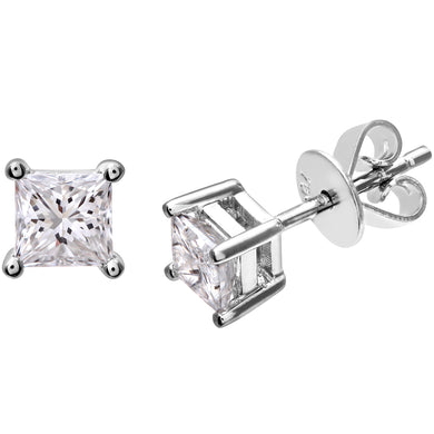 18ct White Gold 3/4 Carat J/SI Certified Princess Cut Diamond Stud Earrings