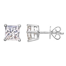 Load image into Gallery viewer, 18ct White Gold 1 Carat J/SI Certified Princess Cut Diamond Stud Earrings