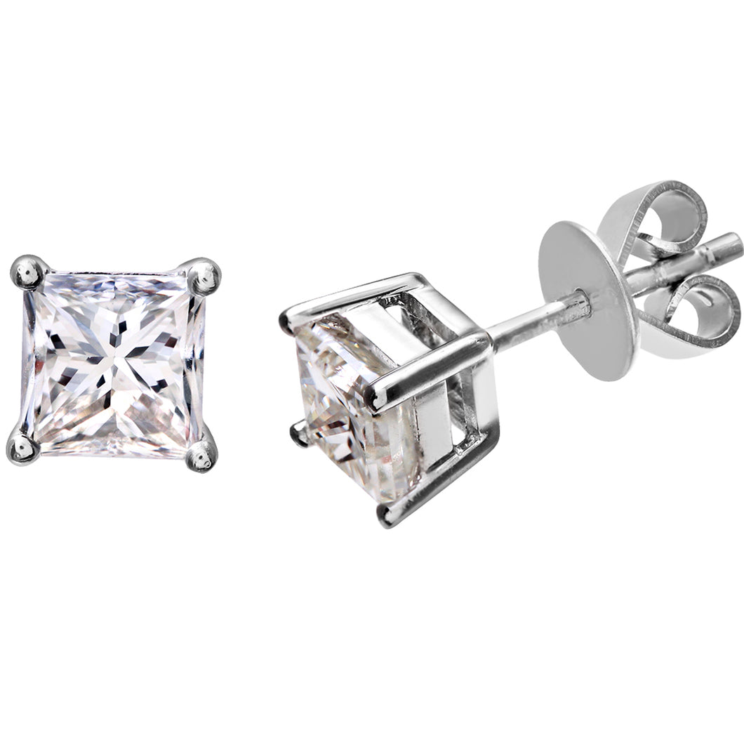 18ct White Gold 1 Carat J/SI Certified Princess Cut Diamond Stud Earrings