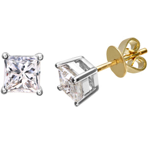 18ct Yellow Gold 1 Carat J/I Certified Princess Cut Diamond Stud Earrings