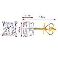 Load image into Gallery viewer, 18ct Yellow Gold 1 Carat J/SI Certified Princess Cut Diamond Stud Earrings