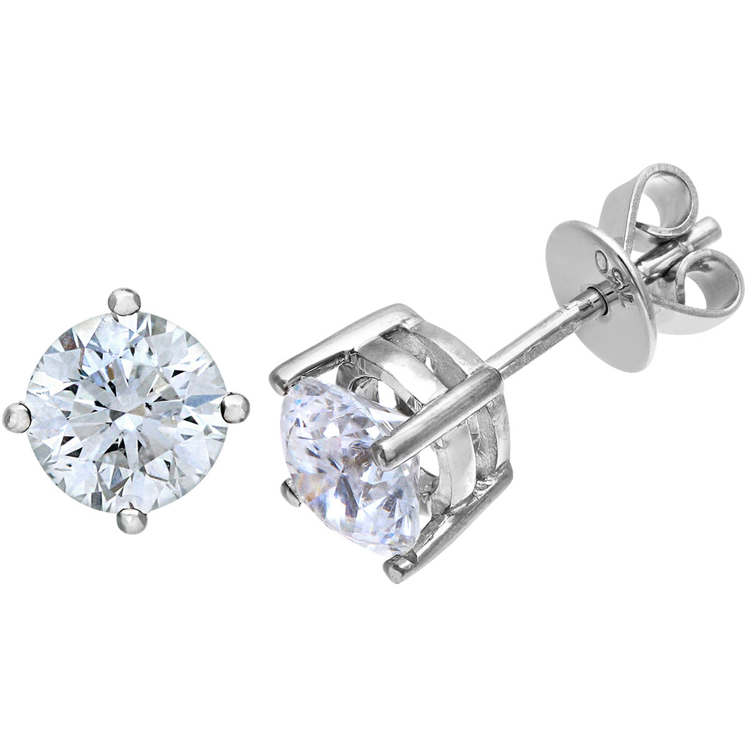 18ct White Gold 1.50ct Certified IJ/I Diamond Solitare Earrings