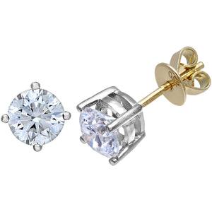 18ct Yellow Gold 1.50ct Certified IJ/I Diamond Solitare Earrings