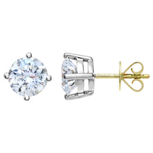 Load image into Gallery viewer, 18ct Yellow Gold 2.00ct Certified IJ/I Diamond Solitare Earrings