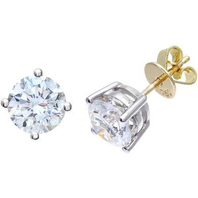18ct Yellow Gold 2.00ct Certified IJ/I Diamond Solitare Earrings