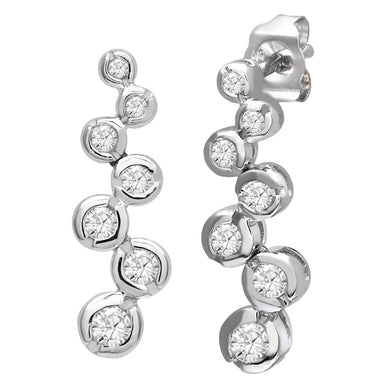 9ct White Gold 0.33ct 7-Stone Diamond Drop Earrings