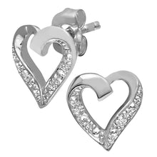 Load image into Gallery viewer, 9ct White Gold Diamond Heart Earrings