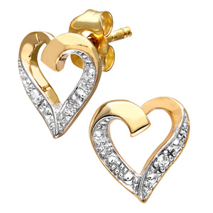 9ct Yellow Gold Diamond Heart Earrings
