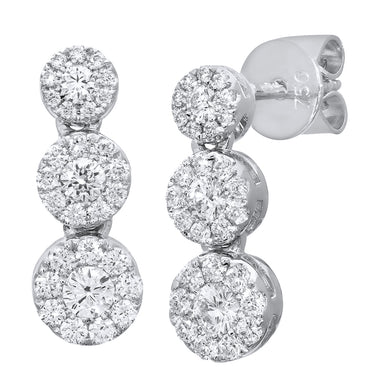 18ct White Gold Halo Set Certified G/SI1 Triple Diamond Ascending Drop Earrings