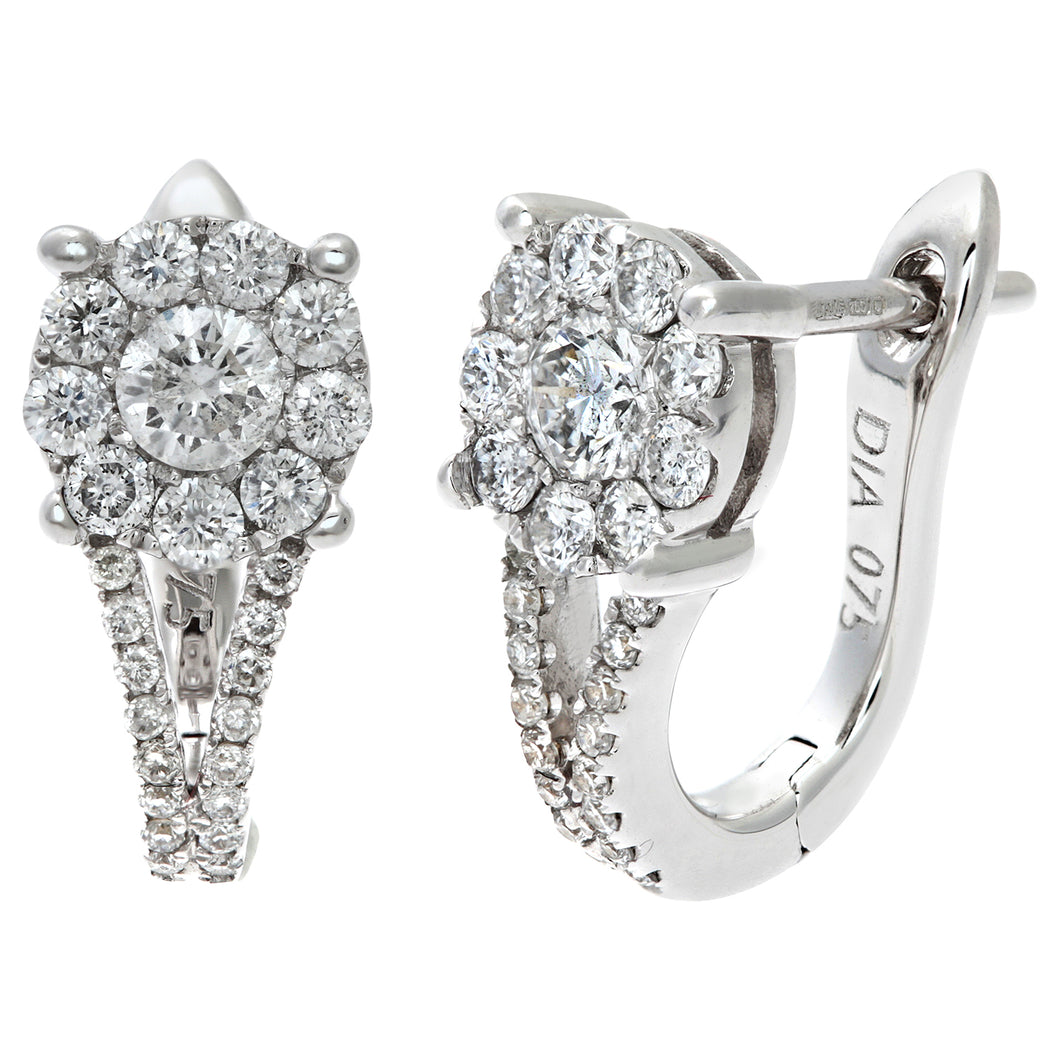 Round Brilliant 0.75ct I/I1 Certified Diamonds 18ct White Gold Cluster Hoop Earrings