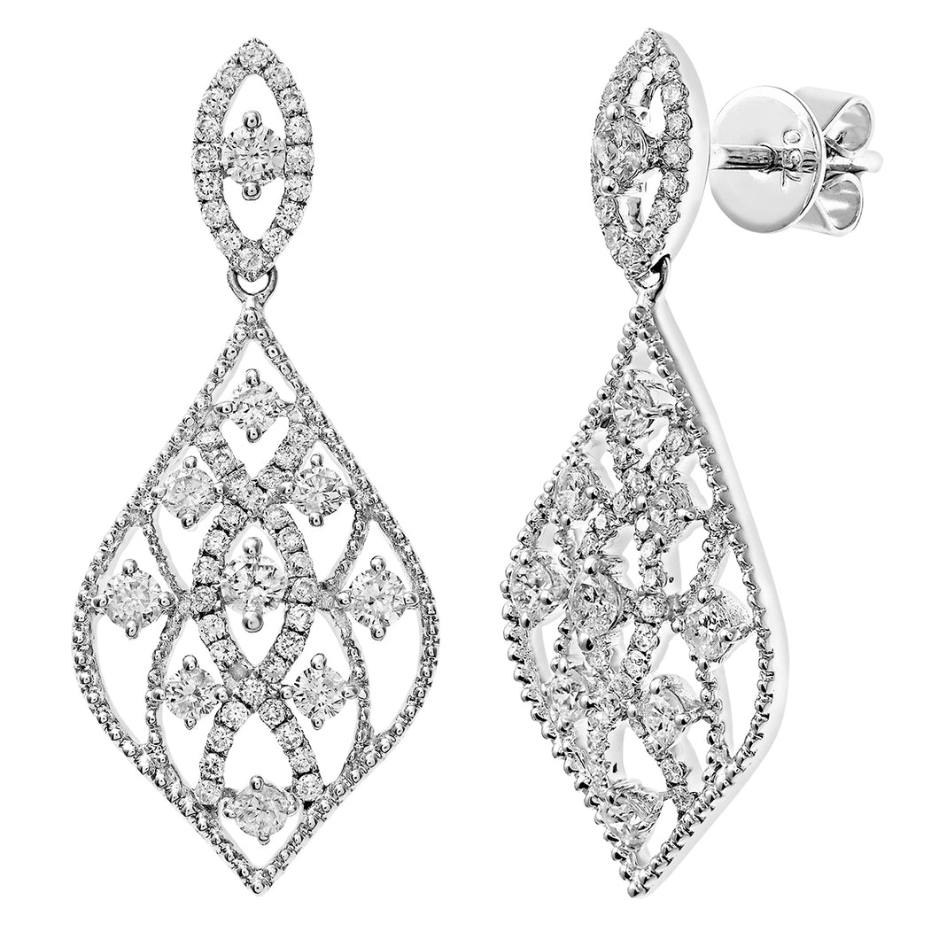 18ct White Gold Weave Drop Diamond Earrings Diamond, Round Brilliant, 0.95ct