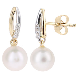 9ct Yellow Gold, 0.03ct Diamonds with White Cultured pearl Earrings