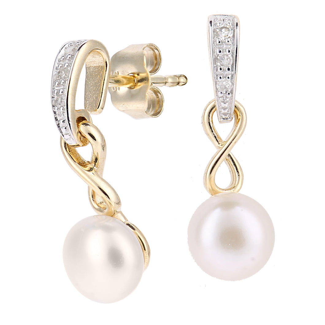 9ct Yellow Gold, 0.04ct Diamonds with White Cultured pearl Earrings