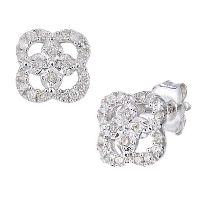9ct White Gold Diamond Stud Earrings Flower Design