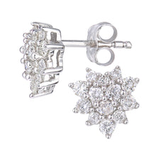 Load image into Gallery viewer, 9ct White Gold 0.50ct Total Diamonds Cluster Earrings